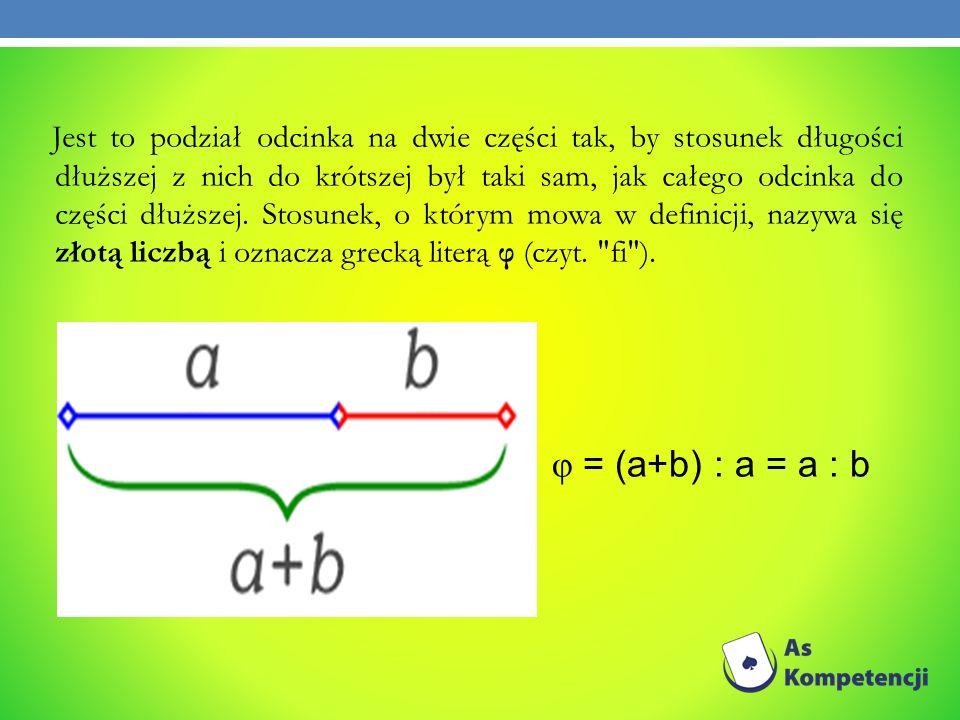 Jest to podział odcinka na dwie części tak, by stosunek długości dłuższej z nich do krótszej był taki sam, jak całego odcinka do części dłuższej. Stos