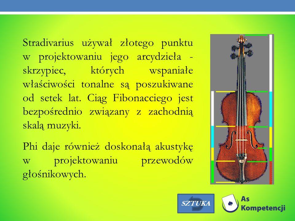 Stradivarius używał złotego punktu w projektowaniu jego arcydzieła - skrzypiec, których wspaniałe właściwości tonalne są poszukiwane od setek lat. Cią