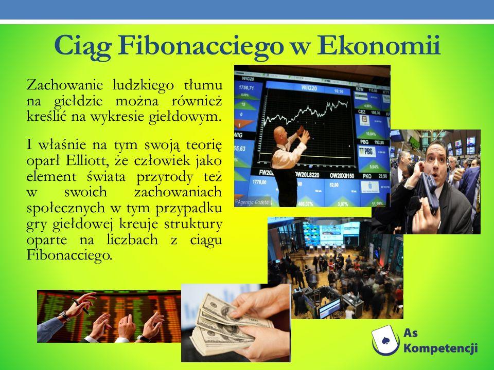 Ciąg Fibonacciego w Ekonomii Zachowanie ludzkiego tłumu na giełdzie można również kreślić na wykresie giełdowym. I właśnie na tym swoją teorię oparł E