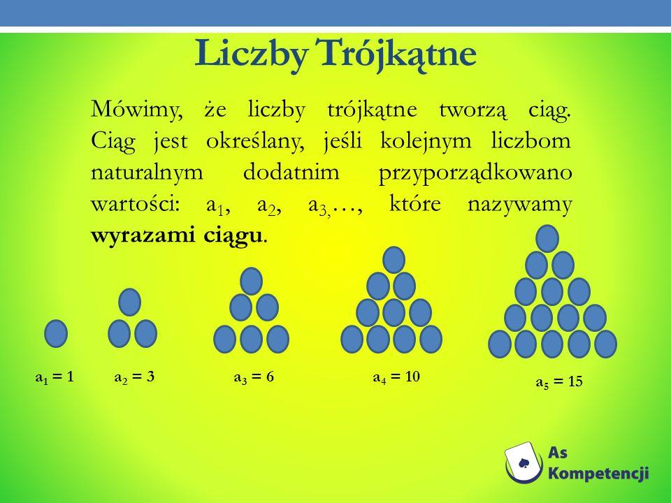 Liczby Trójkątne Mówimy, że liczby trójkątne tworzą ciąg. Ciąg jest określany, jeśli kolejnym liczbom naturalnym dodatnim przyporządkowano wartości: a