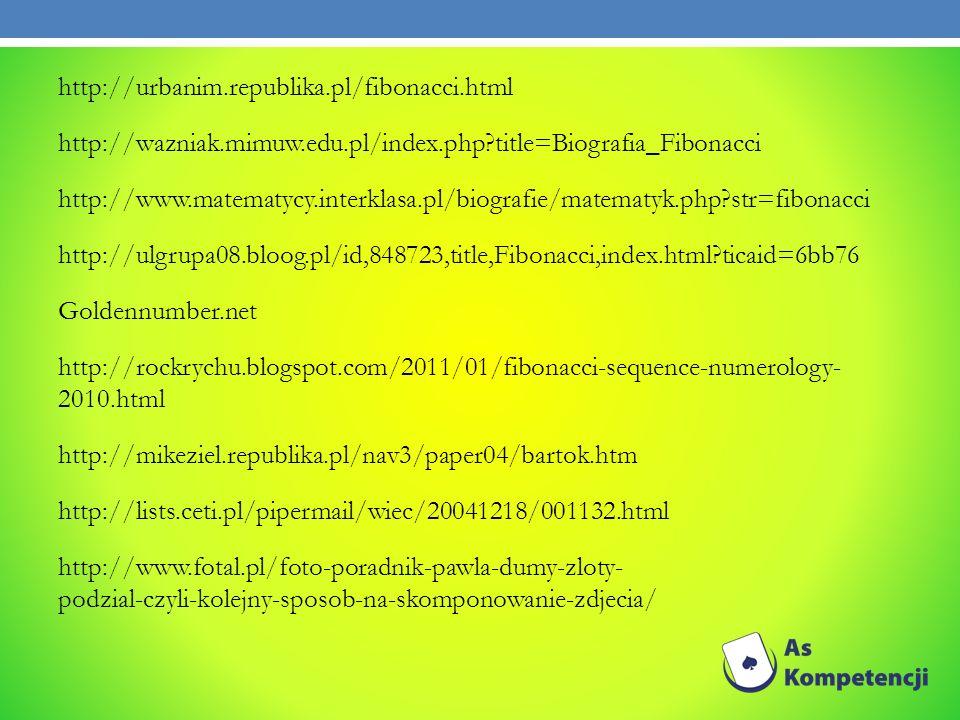 http://urbanim.republika.pl/fibonacci.html http://wazniak.mimuw.edu.pl/index.php?title=Biografia_Fibonacci http://www.matematycy.interklasa.pl/biograf