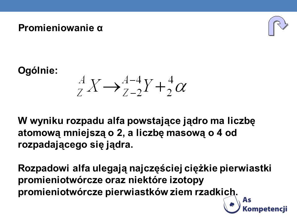 Ogólnie: W wyniku rozpadu alfa powstające jądro ma liczbę atomową mniejszą o 2, a liczbę masową o 4 od rozpadającego się jądra. Rozpadowi alfa ulegają