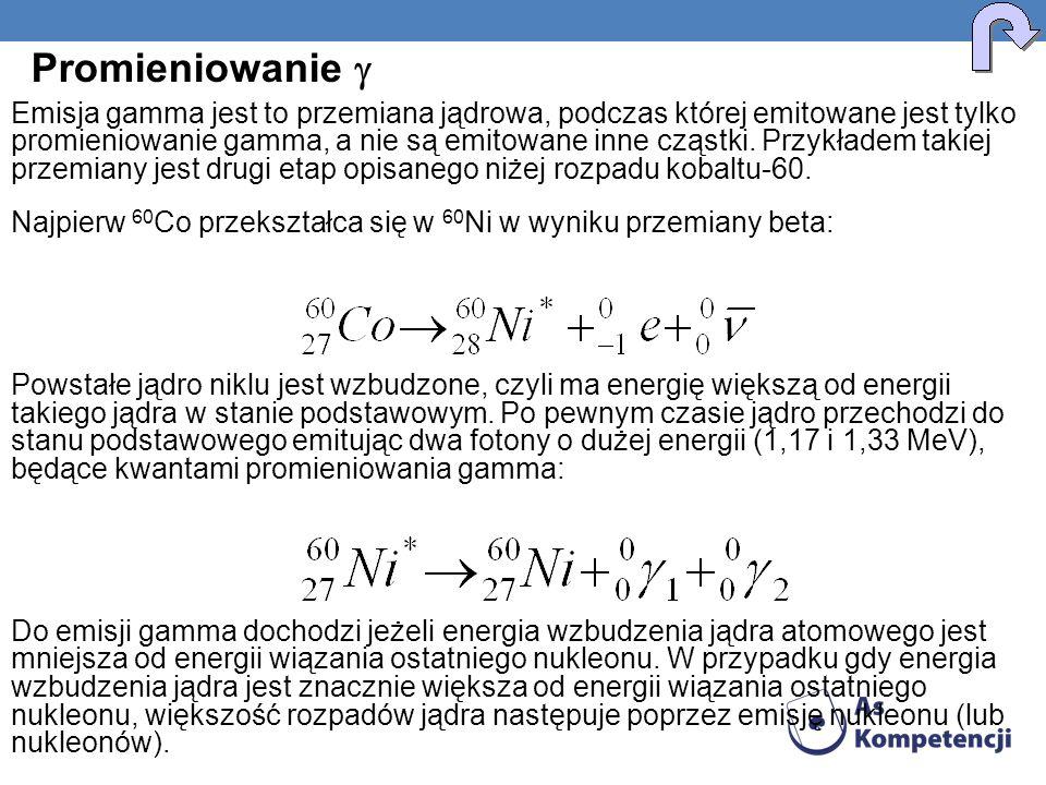 Emisja gamma jest to przemiana jądrowa, podczas której emitowane jest tylko promieniowanie gamma, a nie są emitowane inne cząstki. Przykładem takiej p