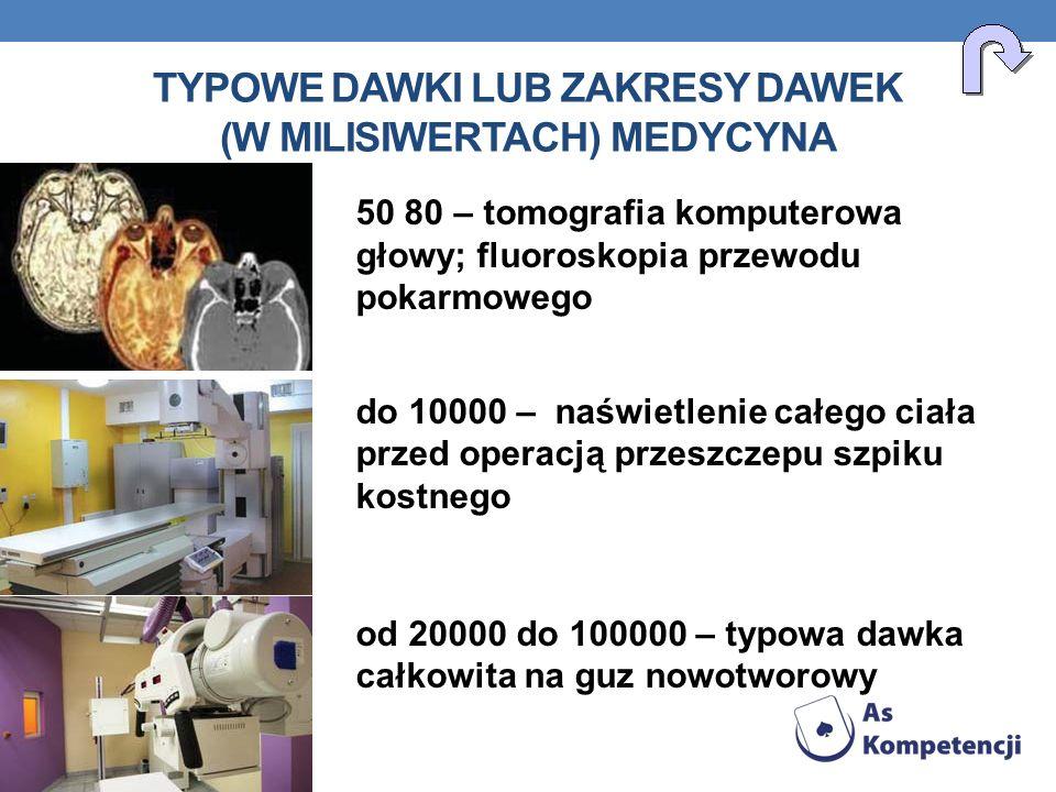 TYPOWE DAWKI LUB ZAKRESY DAWEK (W MILISIWERTACH) MEDYCYNA 50 80 – tomografia komputerowa głowy; fluoroskopia przewodu pokarmowego do 10000 – naświetle