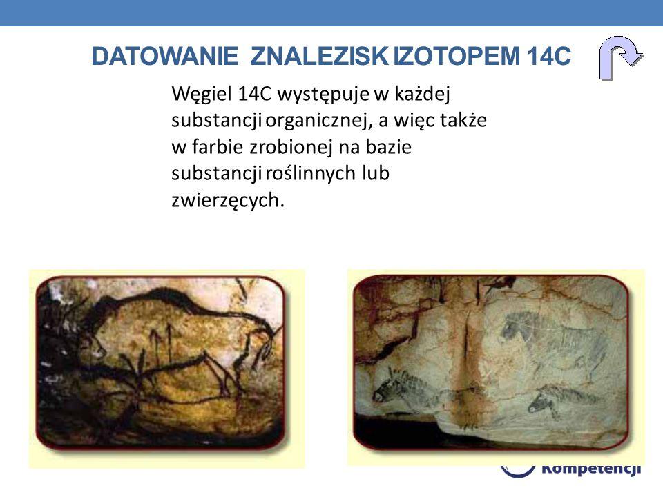 DATOWANIE ZNALEZISK IZOTOPEM 14C Węgiel 14C występuje w każdej substancji organicznej, a więc także w farbie zrobionej na bazie substancji roślinnych