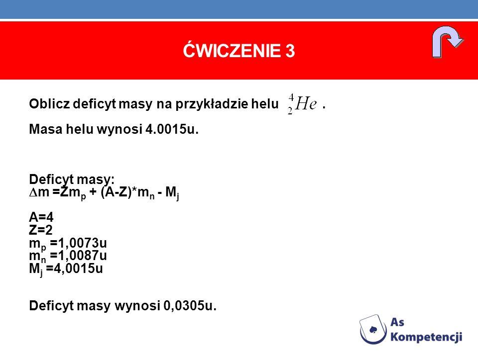 ĆWICZENIE 3 Oblicz deficyt masy na przykładzie helu. Masa helu wynosi 4.0015u. Deficyt masy: m =Zm p + (A-Z)*m n - M j A=4 Z=2 m p =1,0073u m n =1,008