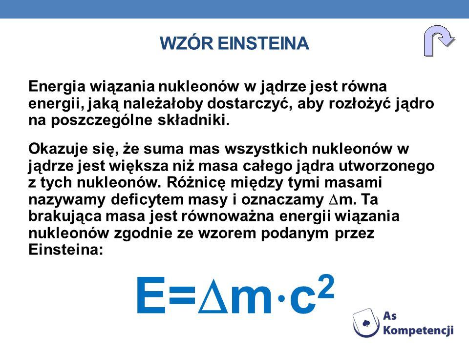 Energia wiązania nukleonów w jądrze jest równa energii, jaką należałoby dostarczyć, aby rozłożyć jądro na poszczególne składniki. Okazuje się, że suma