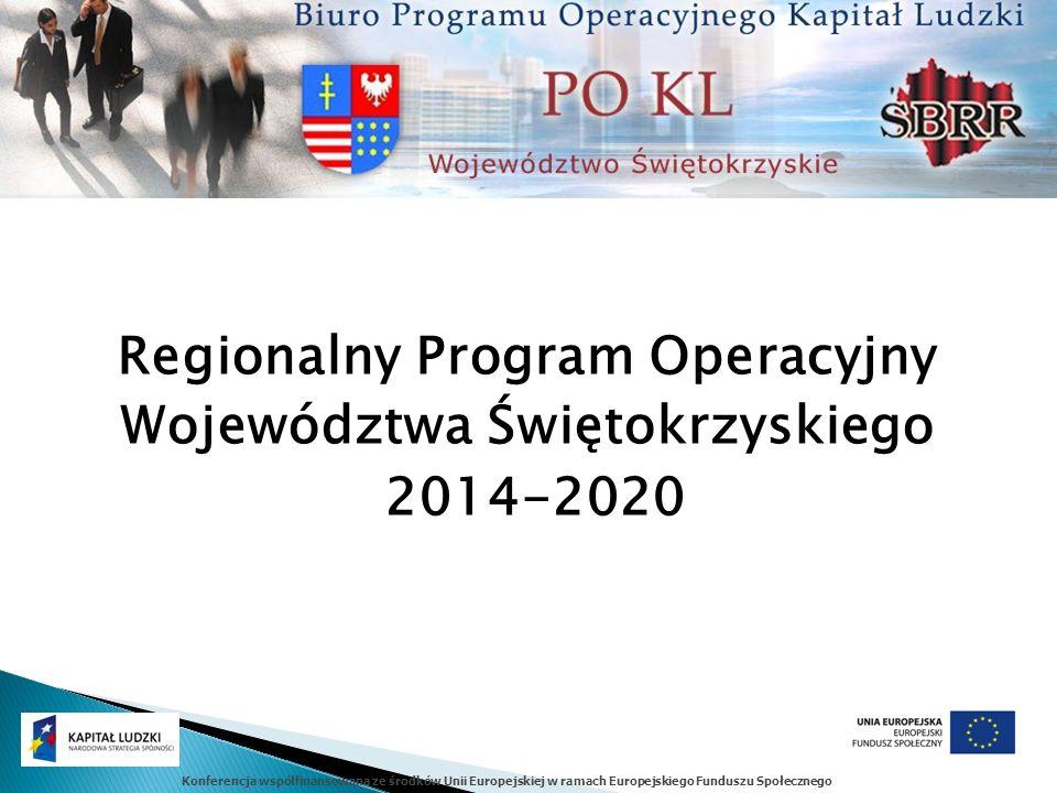 Konferencja współfinansowana ze środków Unii Europejskiej w ramach Europejskiego Funduszu Społecznego Regionalny Program Operacyjny Województwa Święto