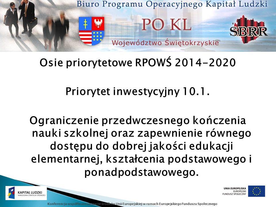 Konferencja współfinansowana ze środków Unii Europejskiej w ramach Europejskiego Funduszu Społecznego Osie priorytetowe RPOWŚ 2014-2020 Priorytet inwestycyjny 10.1.