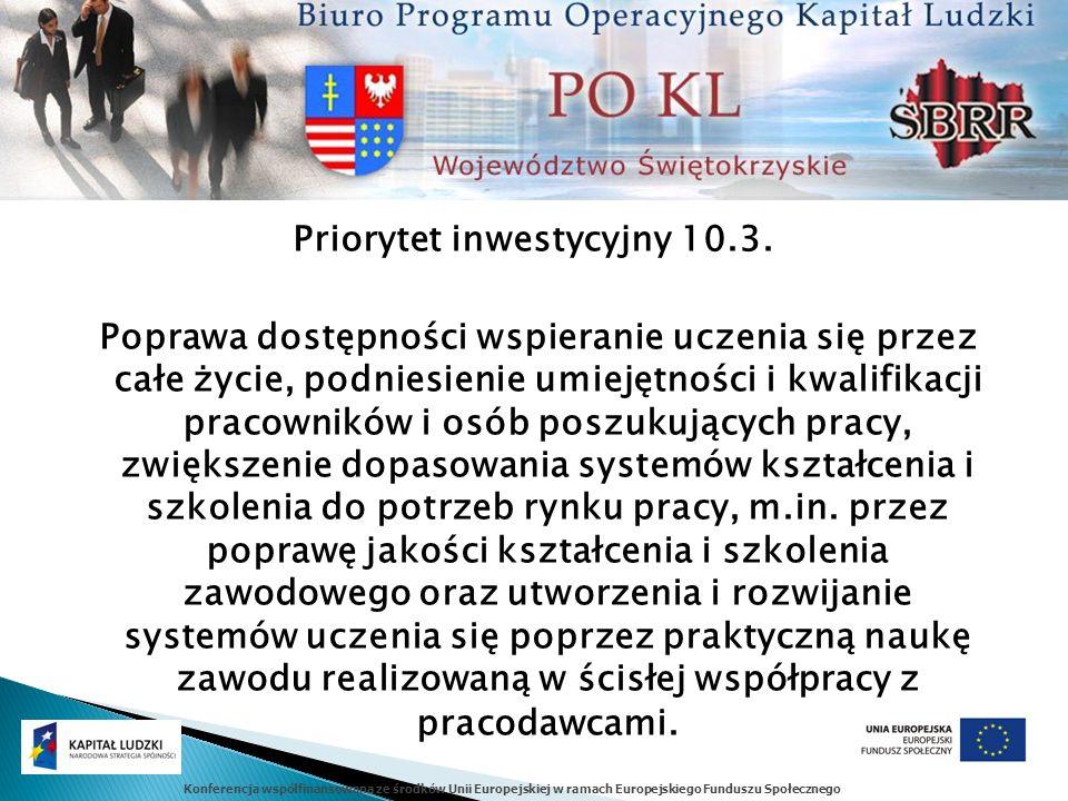 Konferencja współfinansowana ze środków Unii Europejskiej w ramach Europejskiego Funduszu Społecznego Priorytet inwestycyjny 10.3.