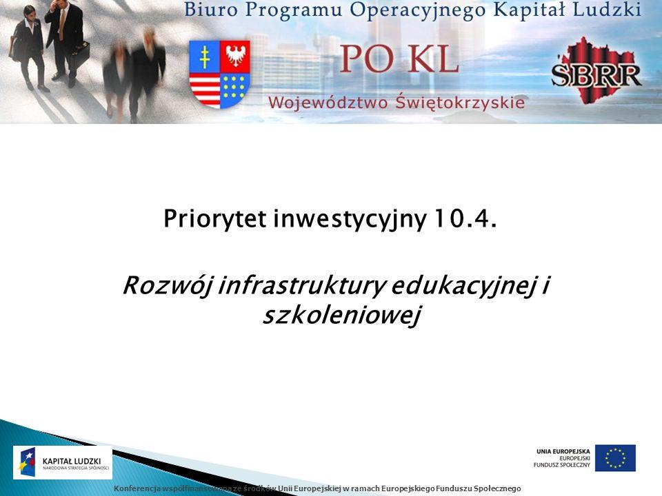 Konferencja współfinansowana ze środków Unii Europejskiej w ramach Europejskiego Funduszu Społecznego Priorytet inwestycyjny 10.4. Rozwój infrastruktu