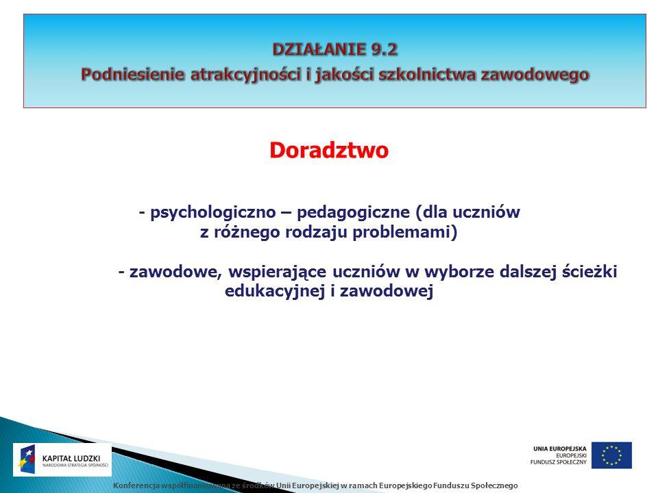 Konferencja współfinansowana ze środków Unii Europejskiej w ramach Europejskiego Funduszu Społecznego Doradztwo - psychologiczno – pedagogiczne (dla u