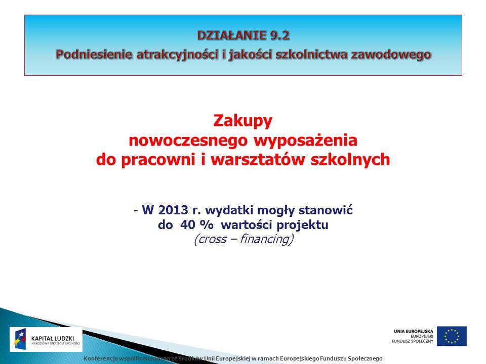 Konferencja współfinansowana ze środków Unii Europejskiej w ramach Europejskiego Funduszu Społecznego Zakupy nowoczesnego wyposażenia do pracowni i warsztatów szkolnych - W 2013 r.