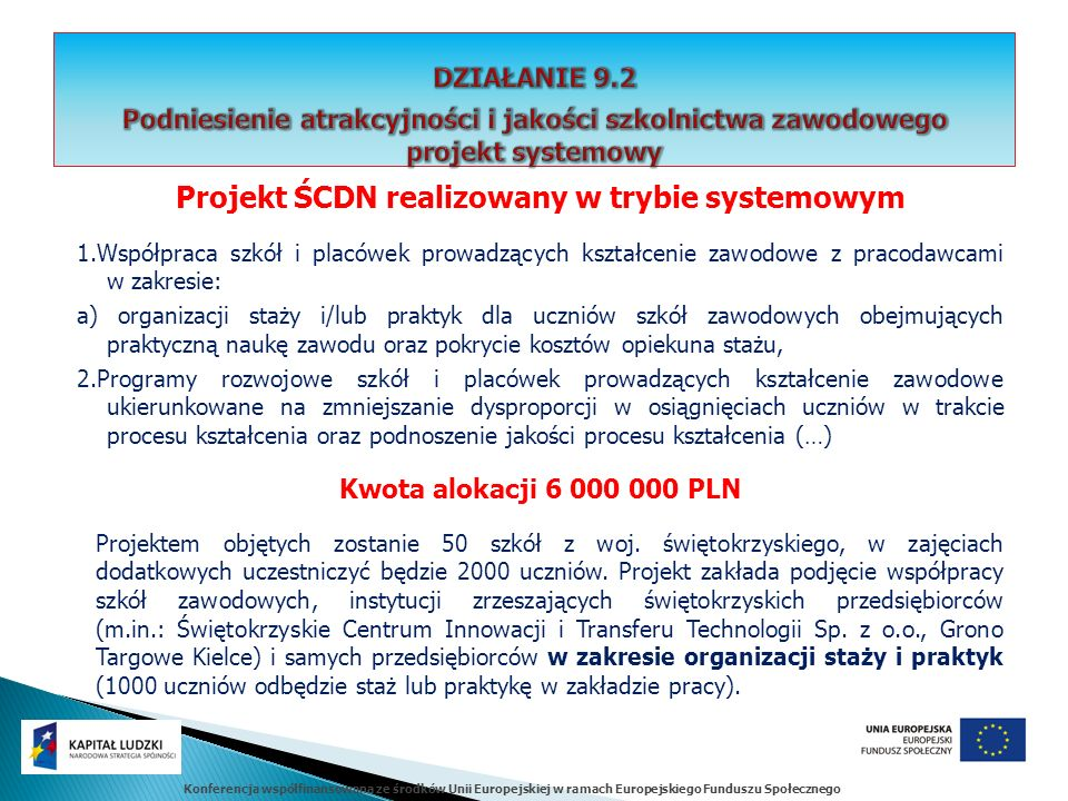 Konferencja współfinansowana ze środków Unii Europejskiej w ramach Europejskiego Funduszu Społecznego Projekt ŚCDN realizowany w trybie systemowym 1.Współpraca szkół i placówek prowadzących kształcenie zawodowe z pracodawcami w zakresie: a) organizacji staży i/lub praktyk dla uczniów szkół zawodowych obejmujących praktyczną naukę zawodu oraz pokrycie kosztów opiekuna stażu, 2.Programy rozwojowe szkół i placówek prowadzących kształcenie zawodowe ukierunkowane na zmniejszanie dysproporcji w osiągnięciach uczniów w trakcie procesu kształcenia oraz podnoszenie jakości procesu kształcenia (…) Kwota alokacji 6 000 000 PLN Projektem objętych zostanie 50 szkół z woj.