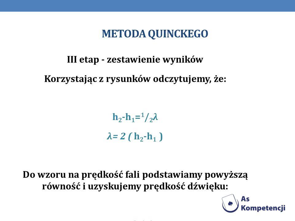 METODA QUINCKEGO III etap - zestawienie wyników Korzystając z rysunków odczytujemy, że: h 2 -h 1 = 1 / 2 λ λ= 2 ( h 2 -h 1 ) Do wzoru na prędkość fali