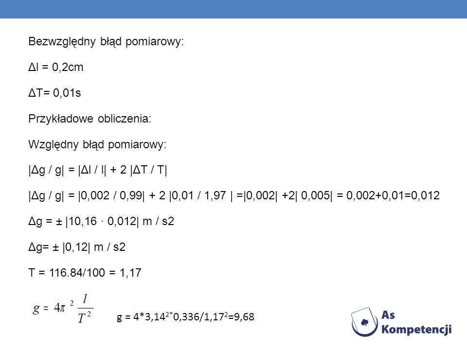 Bezwzględny błąd pomiarowy: Δl = 0,2cm ΔT= 0,01s Przykładowe obliczenia: Względny błąd pomiarowy: |Δg / g| = |Δl / l| + 2 |ΔT / T| |Δg / g| = |0,002 /