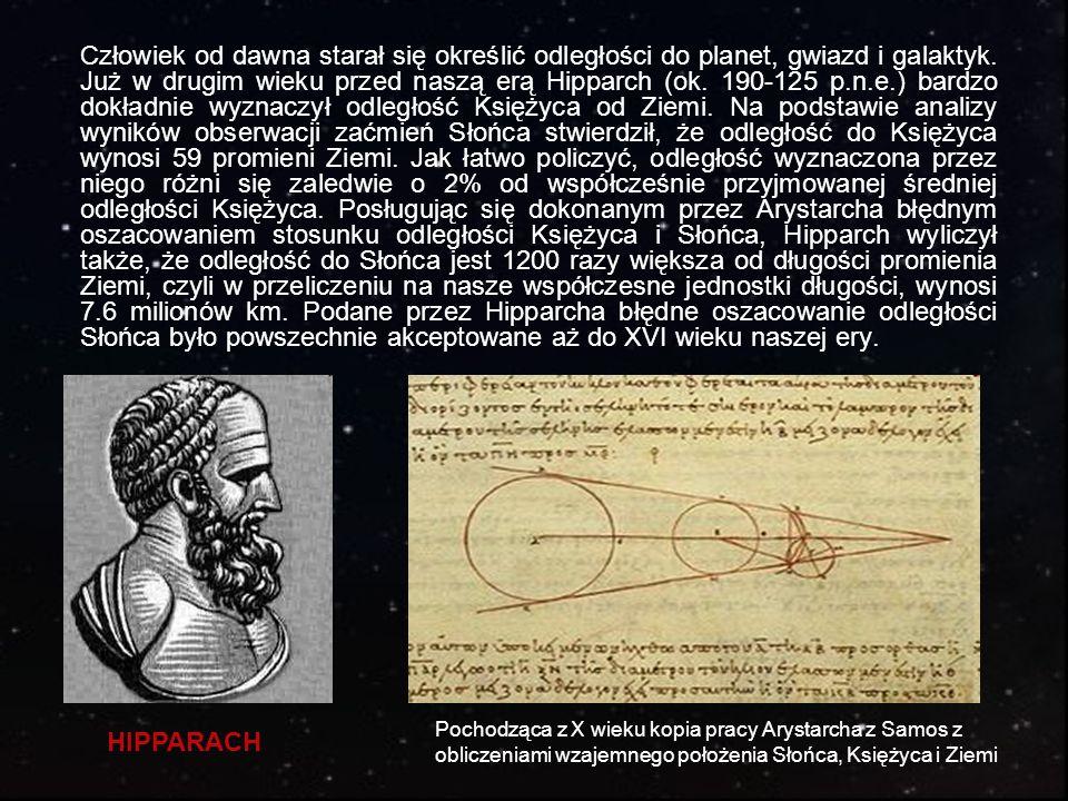Człowiek od dawna starał się określić odległości do planet, gwiazd i galaktyk. Już w drugim wieku przed naszą erą Hipparch (ok. 190-125 p.n.e.) bardzo