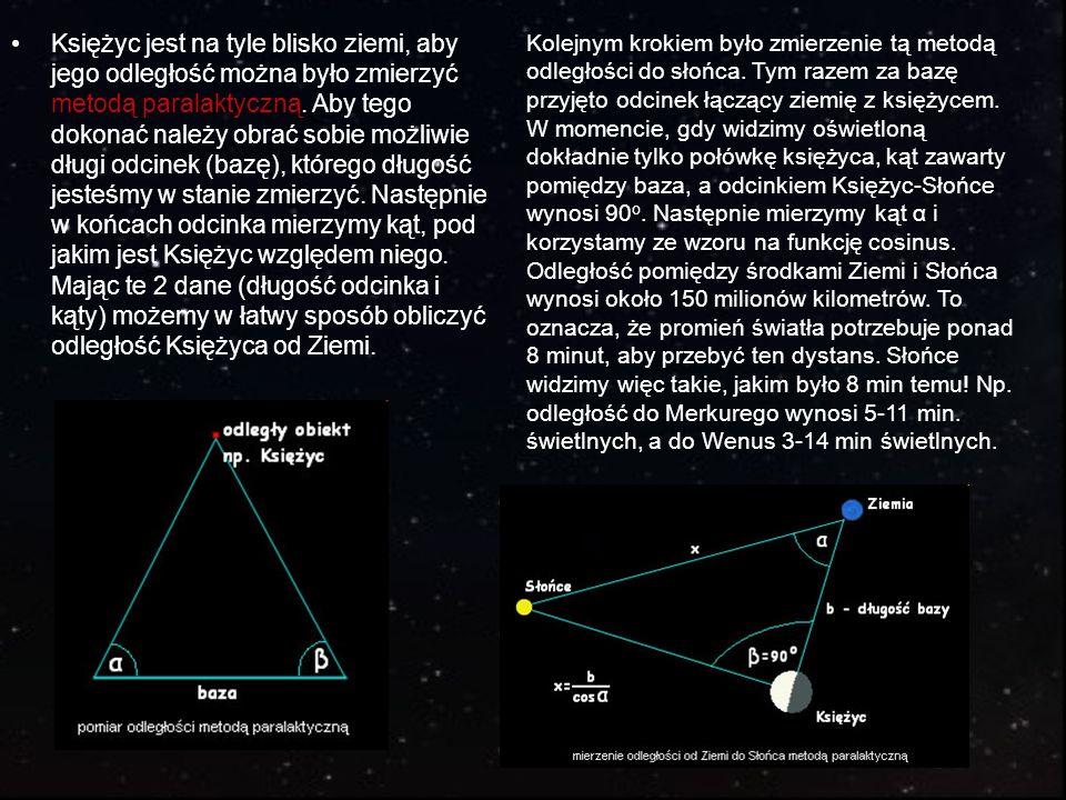 Księżyc jest na tyle blisko ziemi, aby jego odległość można było zmierzyć metodą paralaktyczną. Aby tego dokonać należy obrać sobie możliwie długi odc