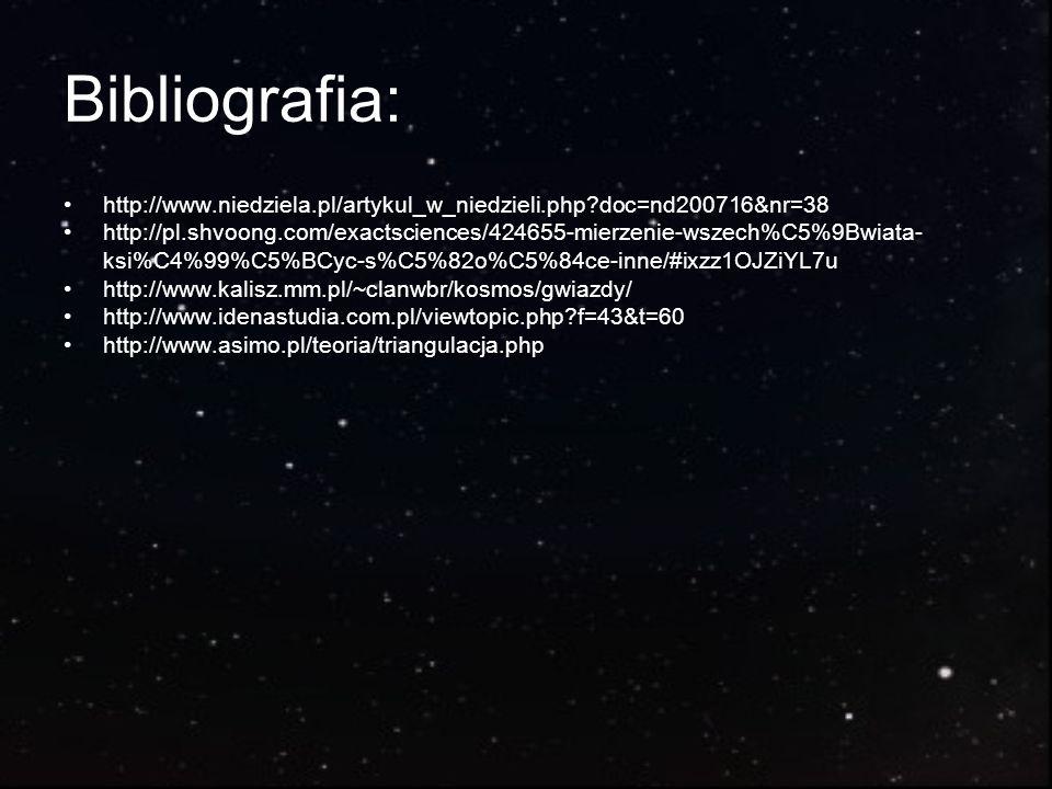 Bibliografia: http://www.niedziela.pl/artykul_w_niedzieli.php?doc=nd200716&nr=38 http://pl.shvoong.com/exactsciences/424655-mierzenie-wszech%C5%9Bwiat