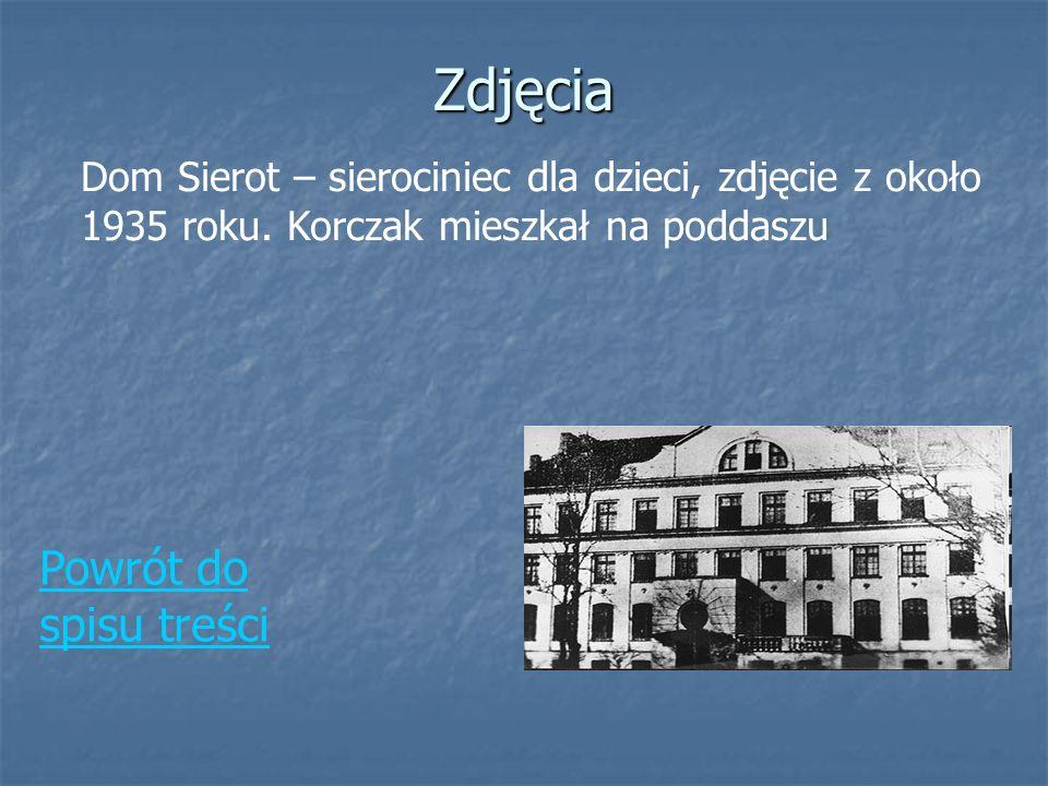Zdjęcia Dom Sierot – sierociniec dla dzieci, zdjęcie z około 1935 roku. Korczak mieszkał na poddaszu Powrót do spisu treści