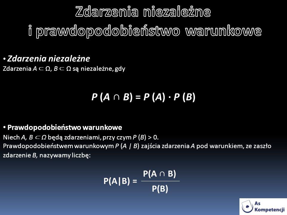 Zdarzenia niezależne Zdarzenia A Ω, B Ω są niezależne, gdy P (A B) = P (A) · P (B) Prawdopodobieństwo warunkowe Niech A, B Ω będą zdarzeniami, przy czym P (B) > 0.