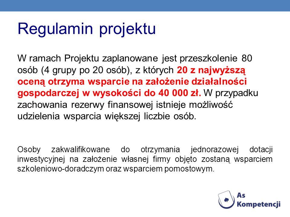Regulamin projektu W ramach Projektu zaplanowane jest przeszkolenie 80 osób (4 grupy po 20 osób), z których 20 z najwyższą oceną otrzyma wsparcie na z