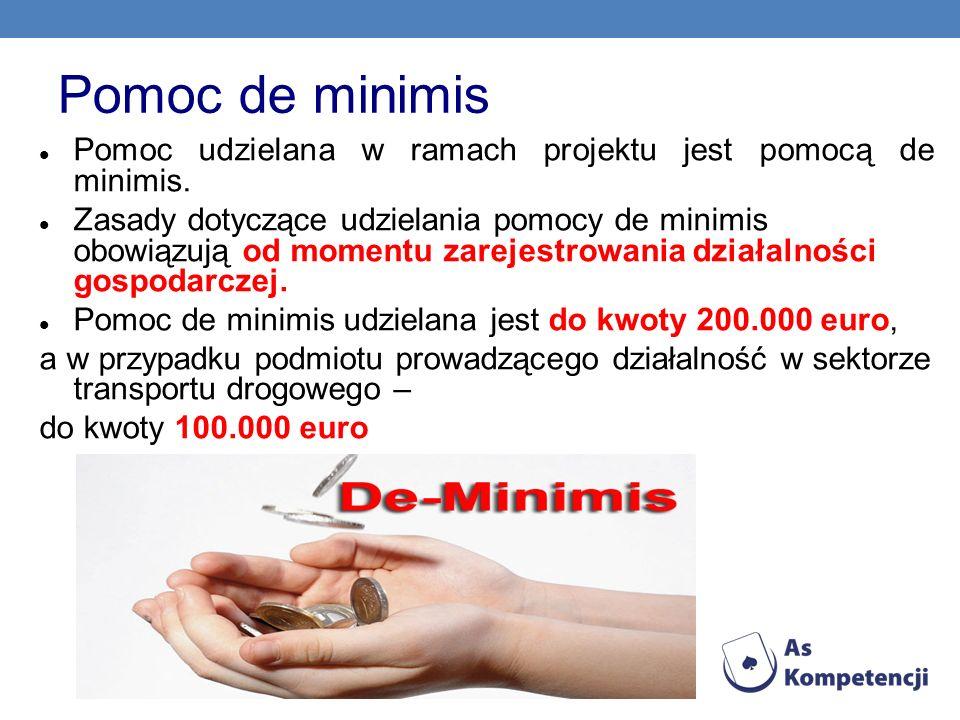 Pomoc de minimis Pomoc udzielana w ramach projektu jest pomocą de minimis. Zasady dotyczące udzielania pomocy de minimis obowiązują od momentu zarejes