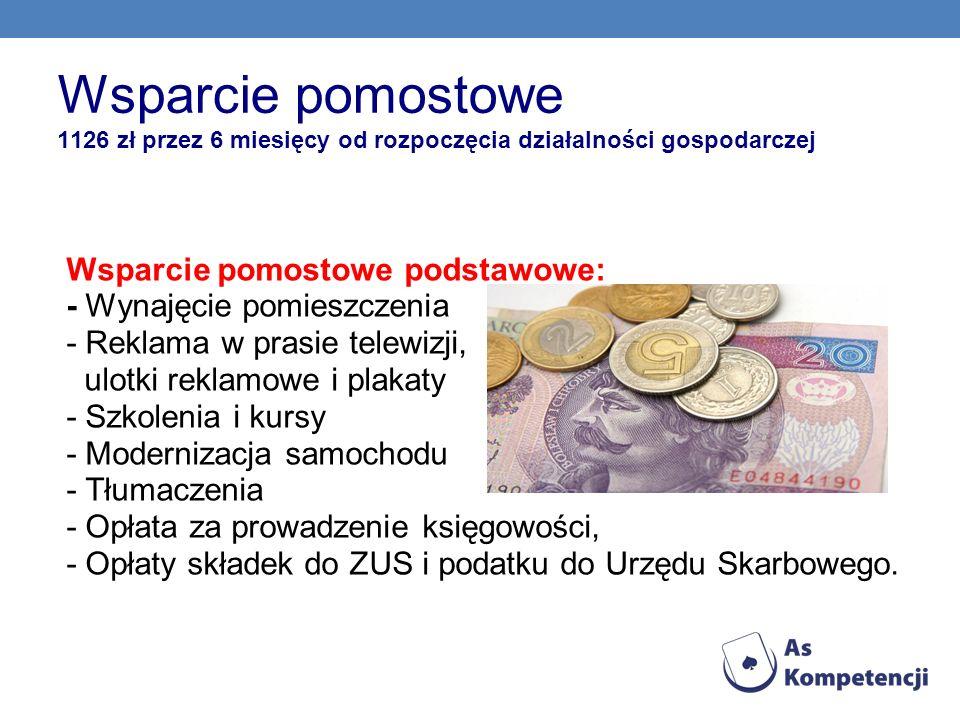 Wsparcie pomostowe 1126 zł przez 6 miesięcy od rozpoczęcia działalności gospodarczej Wsparcie pomostowe podstawowe: - Wynajęcie pomieszczenia - Reklam