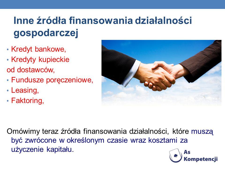 Inne źródła finansowania działalności gospodarczej Kredyt bankowe, Kredyty kupieckie od dostawców, Fundusze poręczeniowe, Leasing, Faktoring, Omówimy