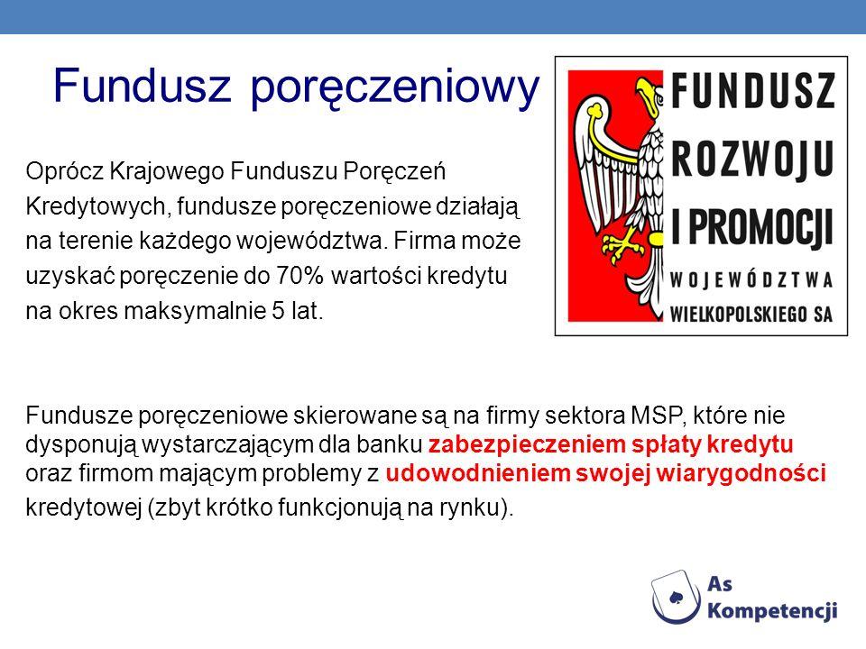 Fundusz poręczeniowy Oprócz Krajowego Funduszu Poręczeń Kredytowych, fundusze poręczeniowe działają na terenie każdego województwa. Firma może uzyskać