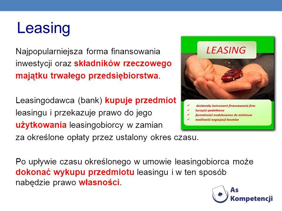Leasing Najpopularniejsza forma finansowania inwestycji oraz składników rzeczowego majątku trwałego przedsiębiorstwa. Leasingodawca (bank) kupuje prze
