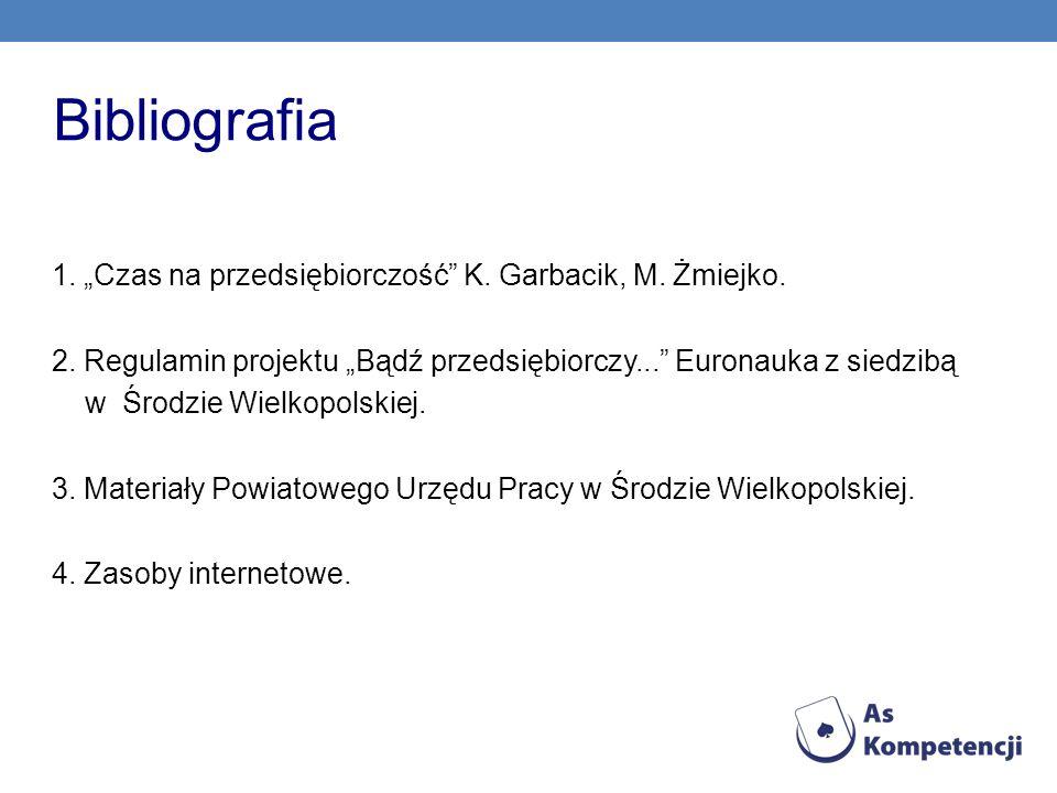 Bibliografia 1. Czas na przedsiębiorczość K. Garbacik, M. Żmiejko. 2. Regulamin projektu Bądź przedsiębiorczy... Euronauka z siedzibą w Środzie Wielko