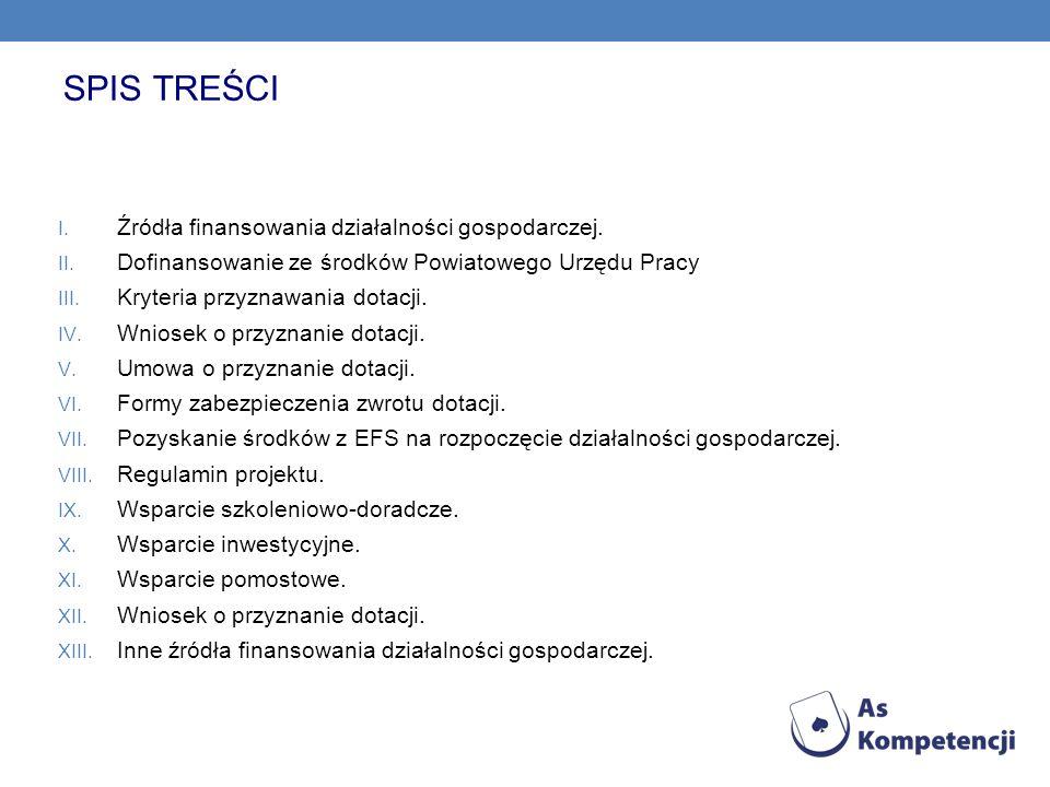 SPIS TREŚCI I. Źródła finansowania działalności gospodarczej. II. Dofinansowanie ze środków Powiatowego Urzędu Pracy III. Kryteria przyznawania dotacj