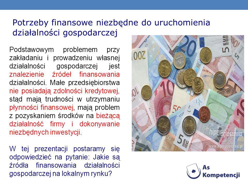 Potrzeby finansowe niezbędne do uruchomienia działalności gospodarczej Podstawowym problemem przy zakładaniu i prowadzeniu własnej działalności gospod