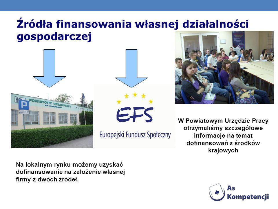 Źródła finansowania własnej działalności gospodarczej Na lokalnym rynku możemy uzyskać dofinansowanie na założenie własnej firmy z dwóch źródeł. W Pow