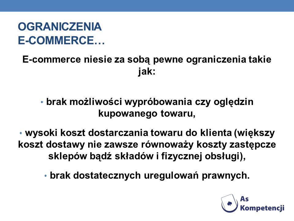 OGRANICZENIA E-COMMERCE… E-commerce niesie za sobą pewne ograniczenia takie jak: brak możliwości wypróbowania czy oględzin kupowanego towaru, wysoki k