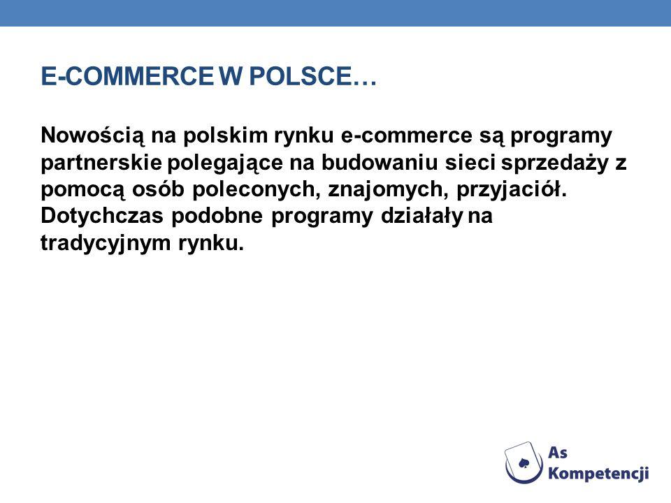 E-COMMERCE W POLSCE… Nowością na polskim rynku e-commerce są programy partnerskie polegające na budowaniu sieci sprzedaży z pomocą osób poleconych, zn