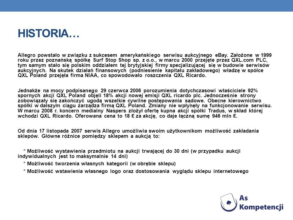 HISTORIA… Allegro powstało w związku z sukcesem amerykańskiego serwisu aukcyjnego eBay. Założone w 1999 roku przez poznańską spółkę Surf Stop Shop sp.