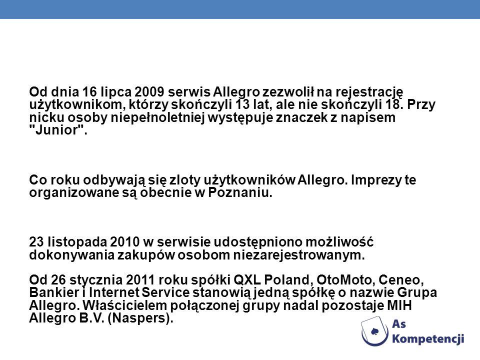 Od dnia 16 lipca 2009 serwis Allegro zezwolił na rejestrację użytkownikom, którzy skończyli 13 lat, ale nie skończyli 18. Przy nicku osoby niepełnolet
