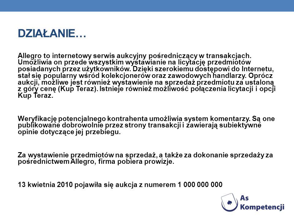 DZIAŁANIE… Allegro to internetowy serwis aukcyjny pośredniczący w transakcjach. Umożliwia on przede wszystkim wystawianie na licytację przedmiotów pos