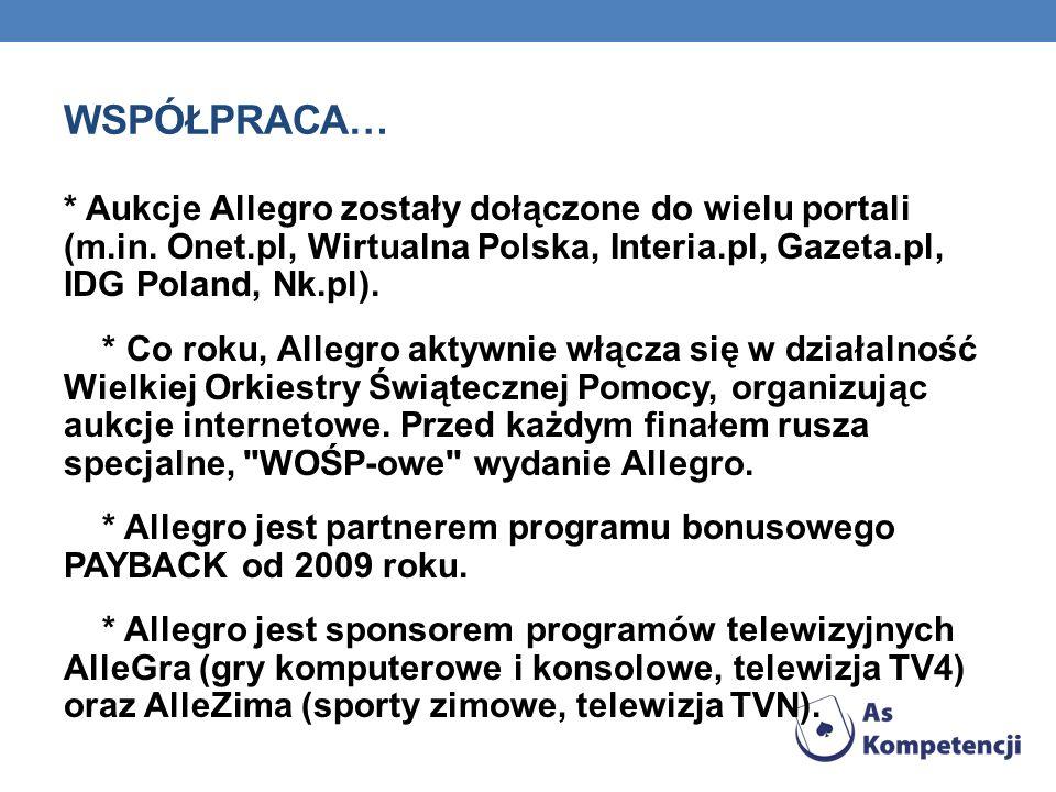 WSPÓŁPRACA… * Aukcje Allegro zostały dołączone do wielu portali (m.in. Onet.pl, Wirtualna Polska, Interia.pl, Gazeta.pl, IDG Poland, Nk.pl). * Co roku