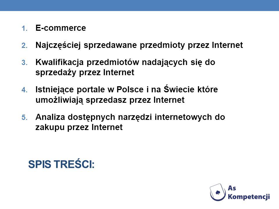 SPIS TREŚCI: 1. E-commerce 2. Najczęściej sprzedawane przedmioty przez Internet 3. Kwalifikacja przedmiotów nadających się do sprzedaży przez Internet