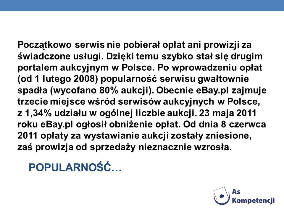 POPULARNOŚĆ… Początkowo serwis nie pobierał opłat ani prowizji za świadczone usługi. Dzięki temu szybko stał się drugim portalem aukcyjnym w Polsce. P