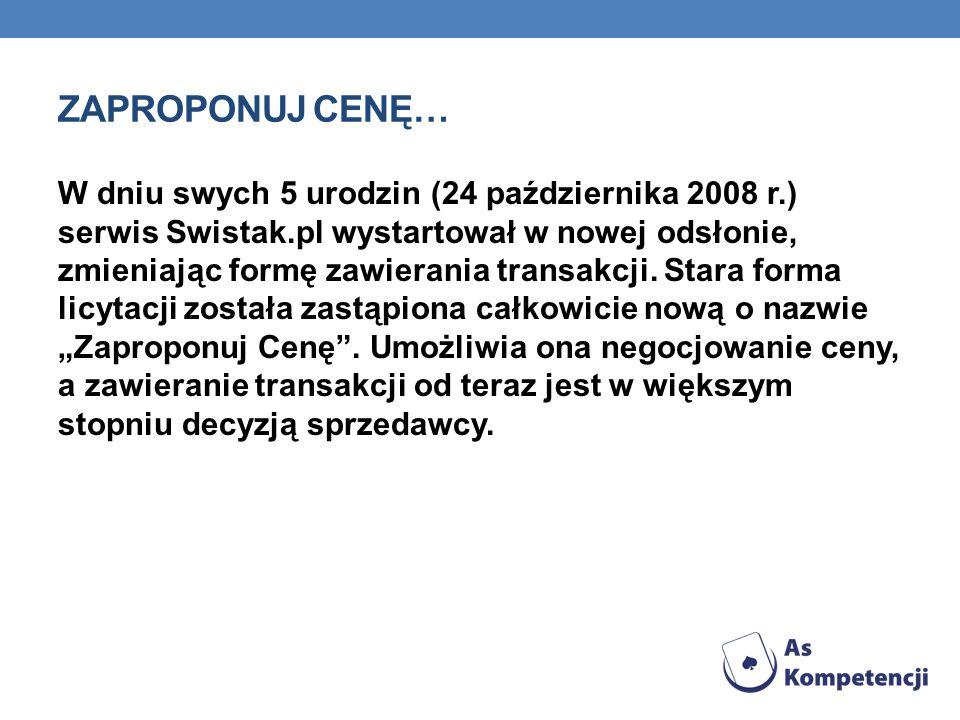 ZAPROPONUJ CENĘ… W dniu swych 5 urodzin (24 października 2008 r.) serwis Swistak.pl wystartował w nowej odsłonie, zmieniając formę zawierania transakc