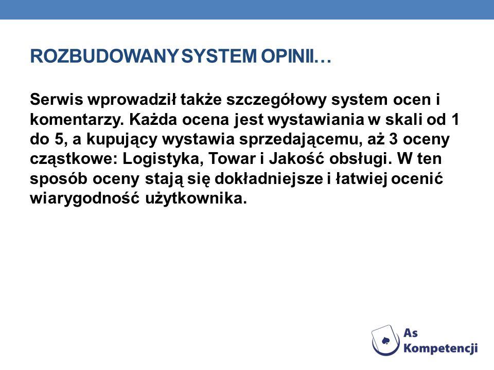 ROZBUDOWANY SYSTEM OPINII… Serwis wprowadził także szczegółowy system ocen i komentarzy. Każda ocena jest wystawiania w skali od 1 do 5, a kupujący wy