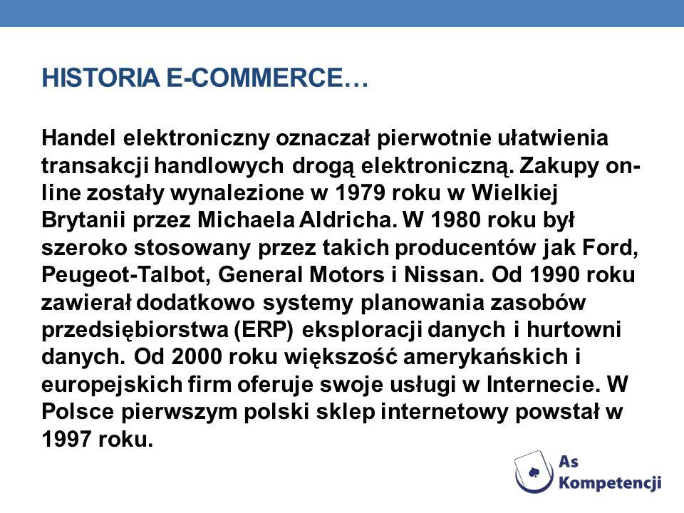 HISTORIA E-COMMERCE… Handel elektroniczny oznaczał pierwotnie ułatwienia transakcji handlowych drogą elektroniczną. Zakupy on- line zostały wynalezion