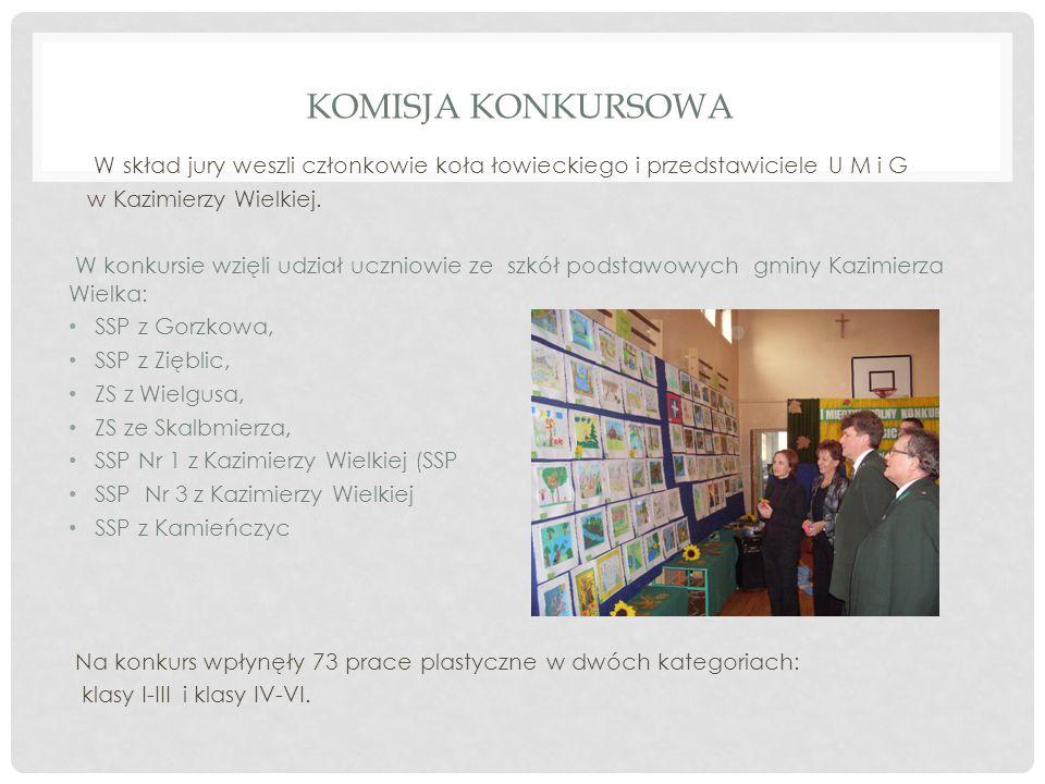 KOMISJA KONKURSOWA W skład jury weszli członkowie koła łowieckiego i przedstawiciele U M i G w Kazimierzy Wielkiej. W konkursie wzięli udział uczniowi