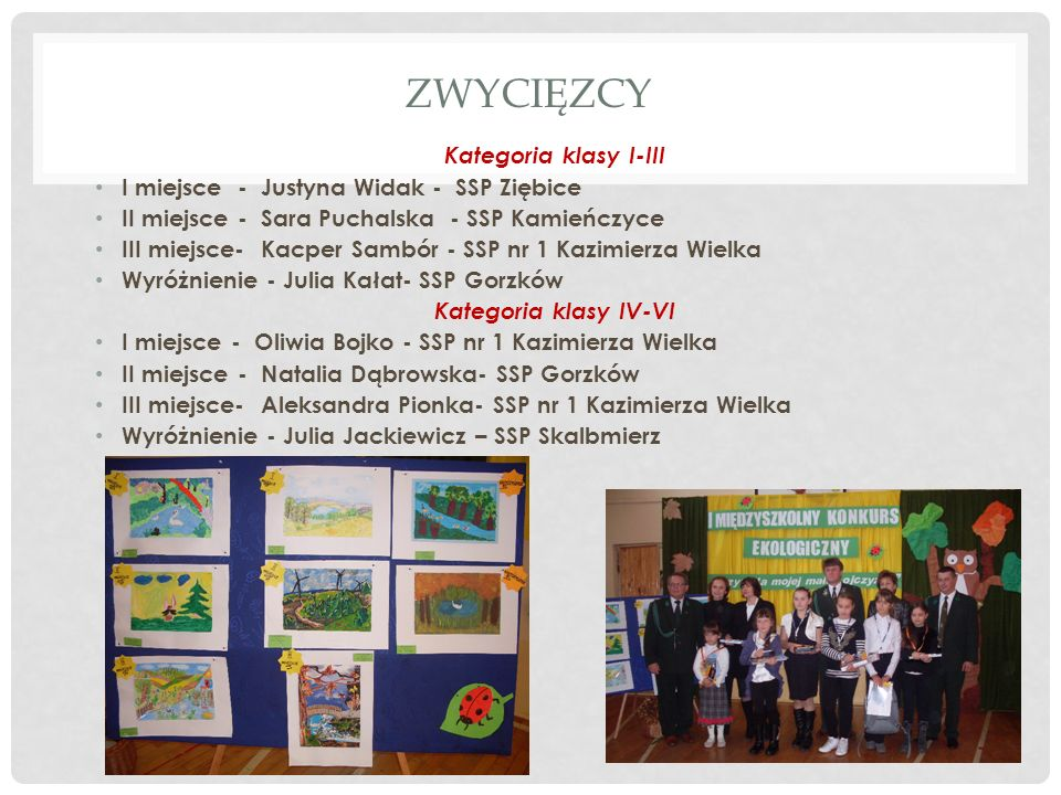 ZWYCIĘZCY Kategoria klasy I-III I miejsce - Justyna Widak - SSP Ziębice II miejsce - Sara Puchalska - SSP Kamieńczyce III miejsce- Kacper Sambór - SSP