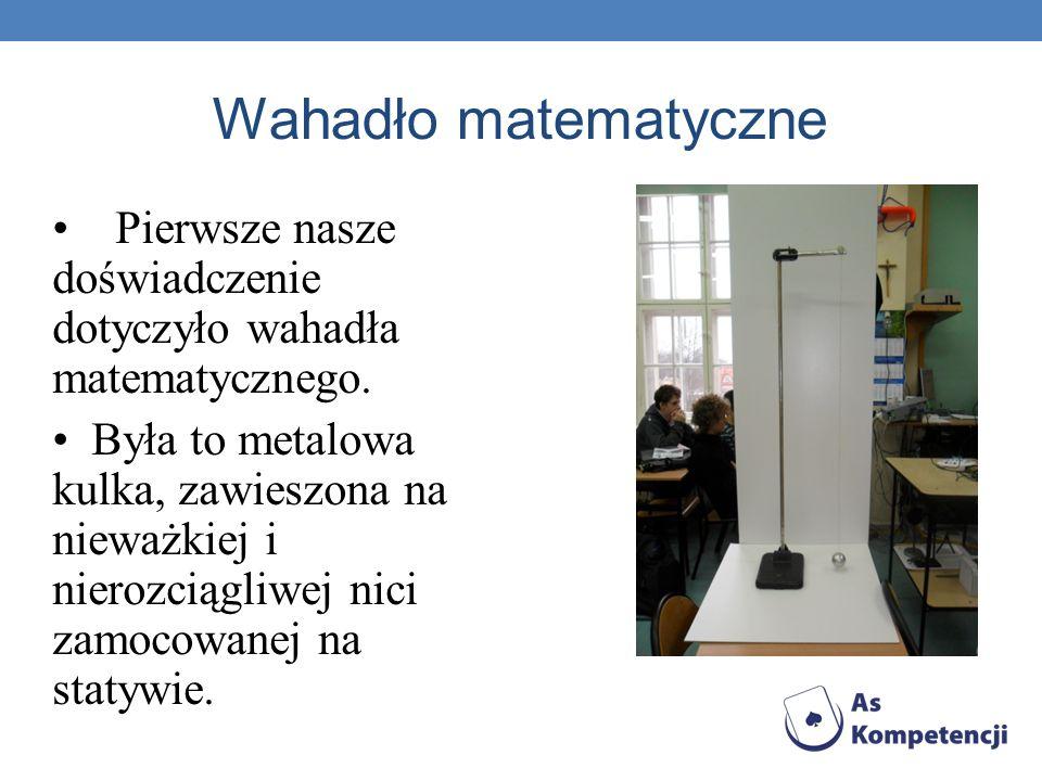 Wahadło matematyczne Pierwsze nasze doświadczenie dotyczyło wahadła matematycznego.