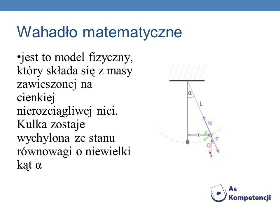 Wahadło matematyczne jest to model fizyczny, który składa się z masy zawieszonej na cienkiej nierozciągliwej nici. Kulka zostaje wychylona ze stanu ró